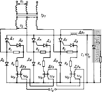 Схема трехфазного управления тиристора